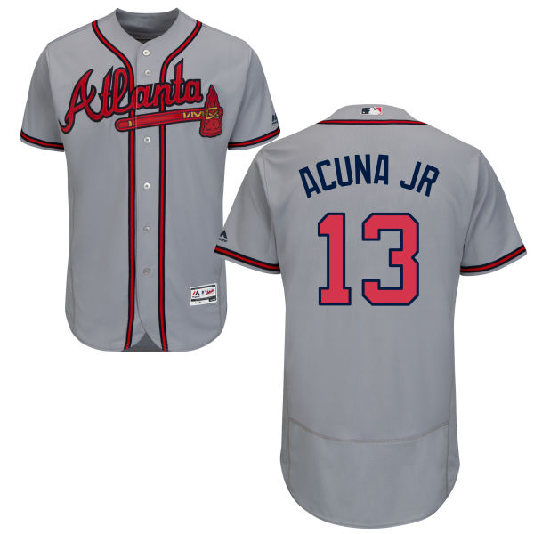 Atlanta Braves #13 Ronald Acuna Jr Gray Flexbase Jersey