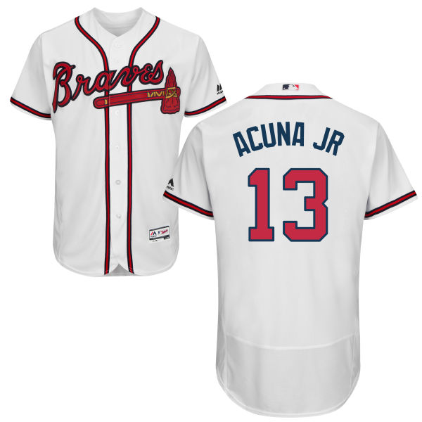 Atlanta Braves #13 Ronald Acuna Jr White Flexbase Jersey