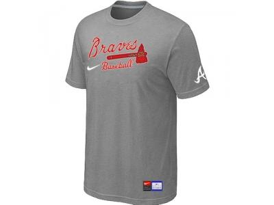 Atlanta Braves L.Grey NEW Short Sleeve Practice T-Shirt