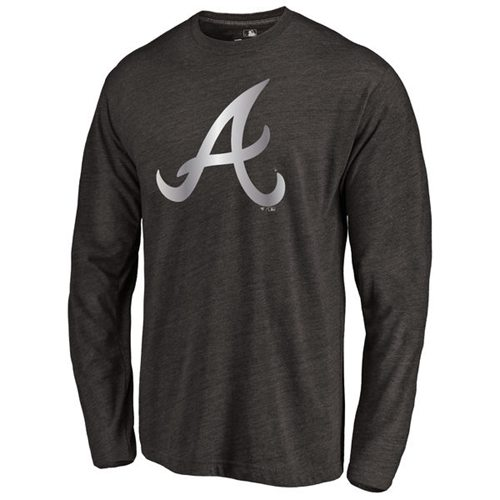 Atlanta Braves Platinum Collection Long Sleeve Tri-Blend T-Shirt Black