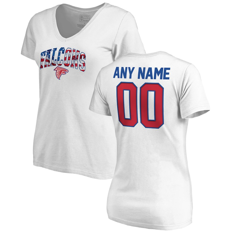 Atlanta Falcons NFL Pro Line By Fanatics Branded Women's Any Name & Number Banner Wave V Neck T-Shirt White