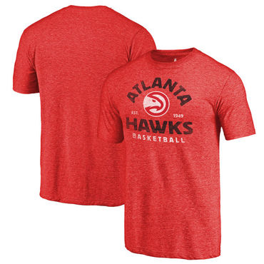 Atlanta Hawks Fanatics Branded Red Vintage Arch Tri-Blend T-Shirt