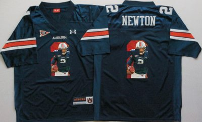 Auburn Tigers 2 Cam Newton Navy Portrait Number College Jersey