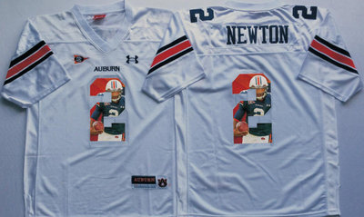 Auburn Tigers 2 Cam Newton White Portrait Number College Jersey