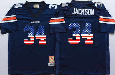 Auburn Tigers 34 Bo Jackson Navy USA Flag College Jersey