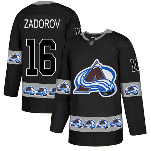Avalanche #16 Nikita Zadorov Black Authentic Team Logo Fashion Stitched Hockey Jersey