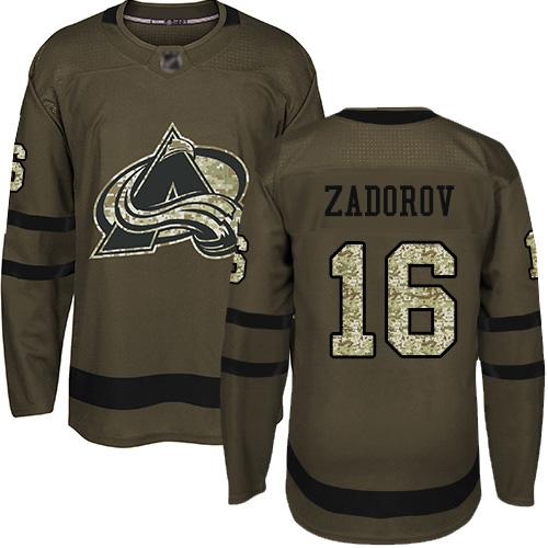 Avalanche #16 Nikita Zadorov Green Salute to Service Stitched Hockey Jersey