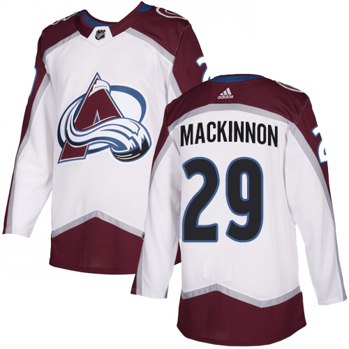Avalanche #29 Nathan MacKinnon White Road Authentic Stitched Hockey Jersey