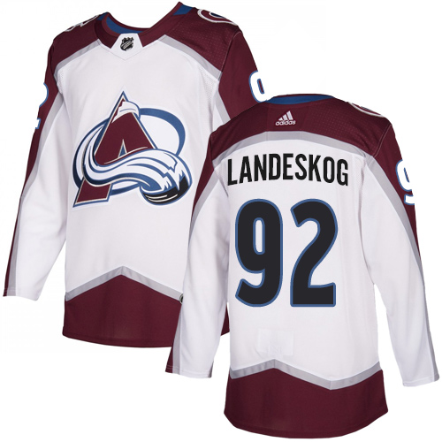 Avalanche #92 Gabriel Landeskog White Road Authentic Stitched Hockey Jersey