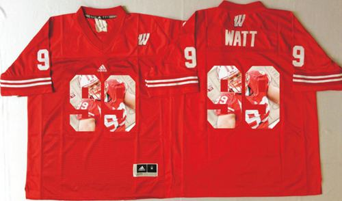 Badgers #99 J.J. Watt Red Player Fashion Stitched NCAA Jersey