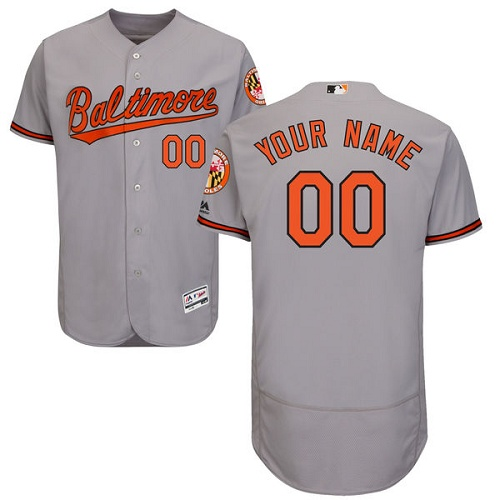 Baltimore Orioles Gray Men's Flexbase Customized Jersey