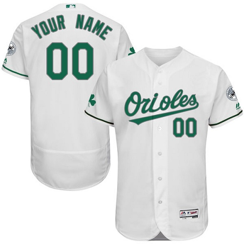 Baltimore Orioles White St. Patrick's Day Men's Flexbase Customized Jersey