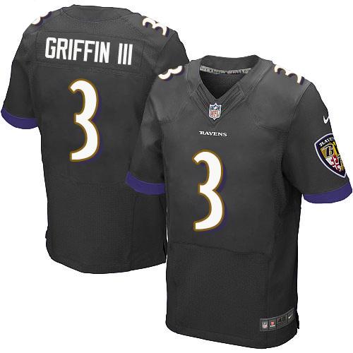 Baltimore Ravens #3 Robert Griffin III Men's Elite Black Nike Jersey