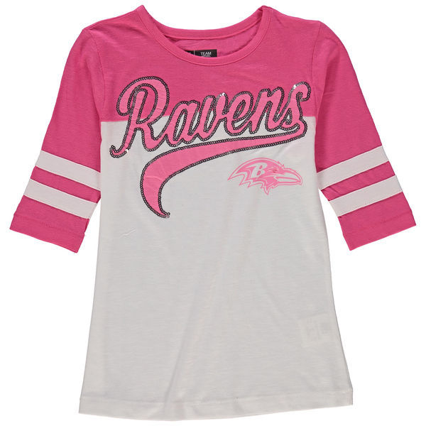 Baltimore Ravens 5th & Ocean Women's Half Sleeve T-Shirt Pink