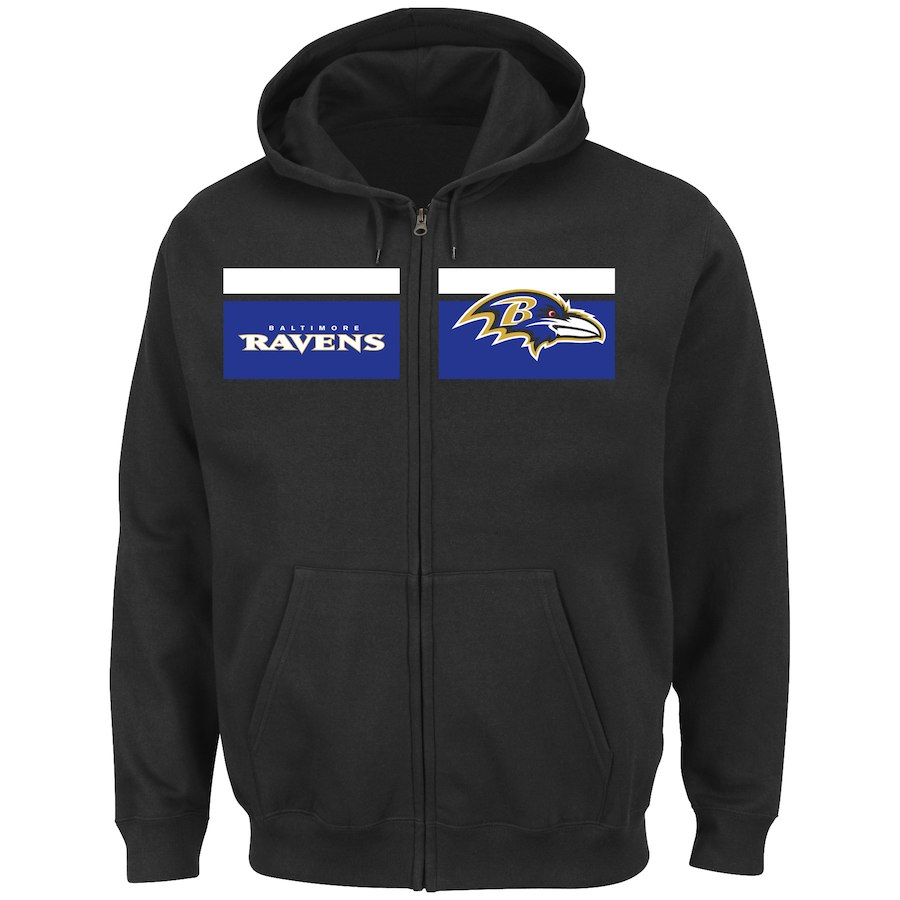 Baltimore Ravens Majestic Touchback Full Zip Hoodie Black