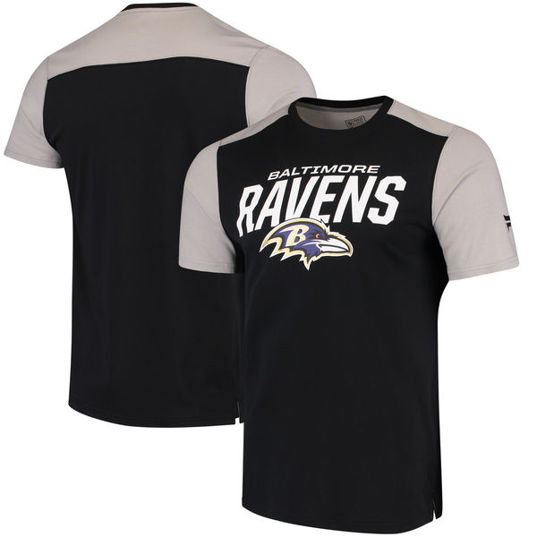 Baltimore Ravens NFL Pro Line By Fanatics Branded Iconic Color Blocked T-Shirt Black Gray