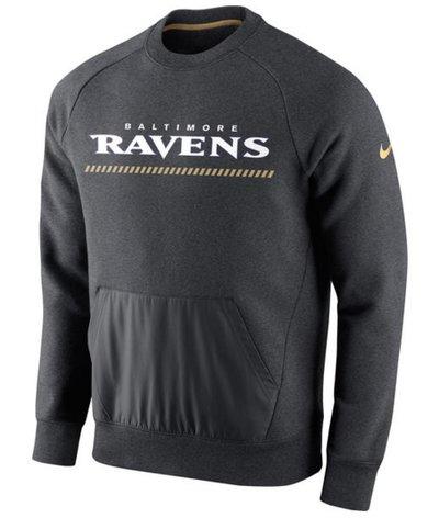 Baltimore Ravens Nike Championship Drive Gold Collection Hybrid Fleece Performance Sweatshirt Charcoal