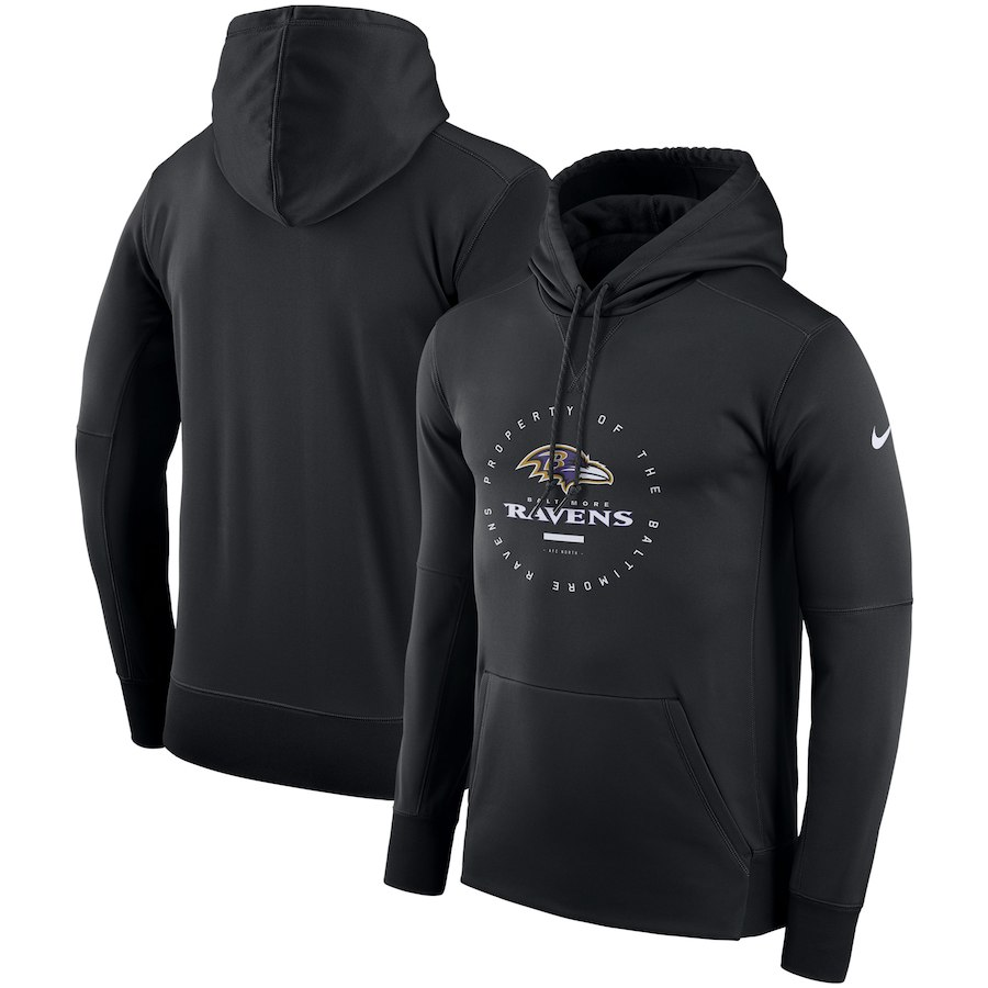 Baltimore Ravens Nike Sideline Property Of Wordmark Logo Performance Pullover Hoodie Black