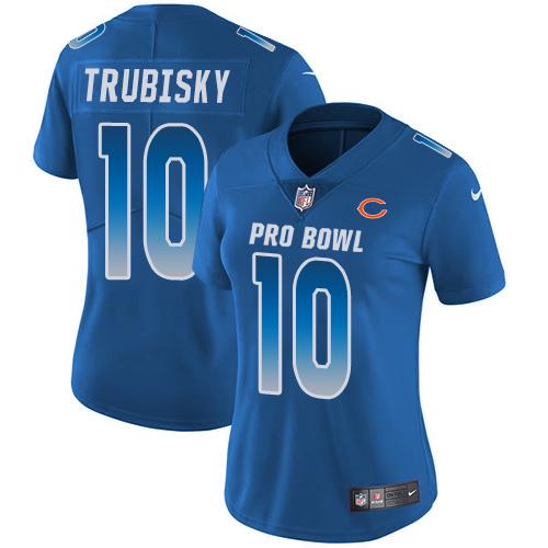 Bears #10 Mitchell Trubisky Royal Women's Stitched Football Limited NFC 2019 Pro Bowl Jersey