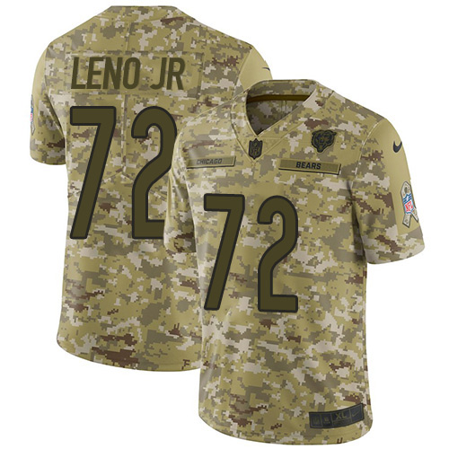 Bears #72 Charles Leno Jr Camo Youth Stitched Football Limited 2018 Salute to Service Jersey