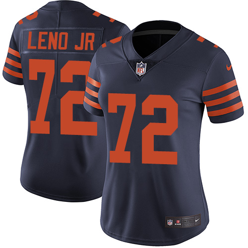 Bears #72 Charles Leno Jr Navy Blue Alternate Women's Stitched Football Vapor Untouchable Limited Jersey
