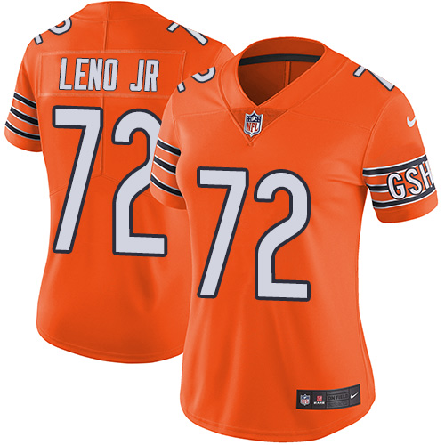 Bears #72 Charles Leno Jr Orange Women's Stitched Football Limited Rush Jersey