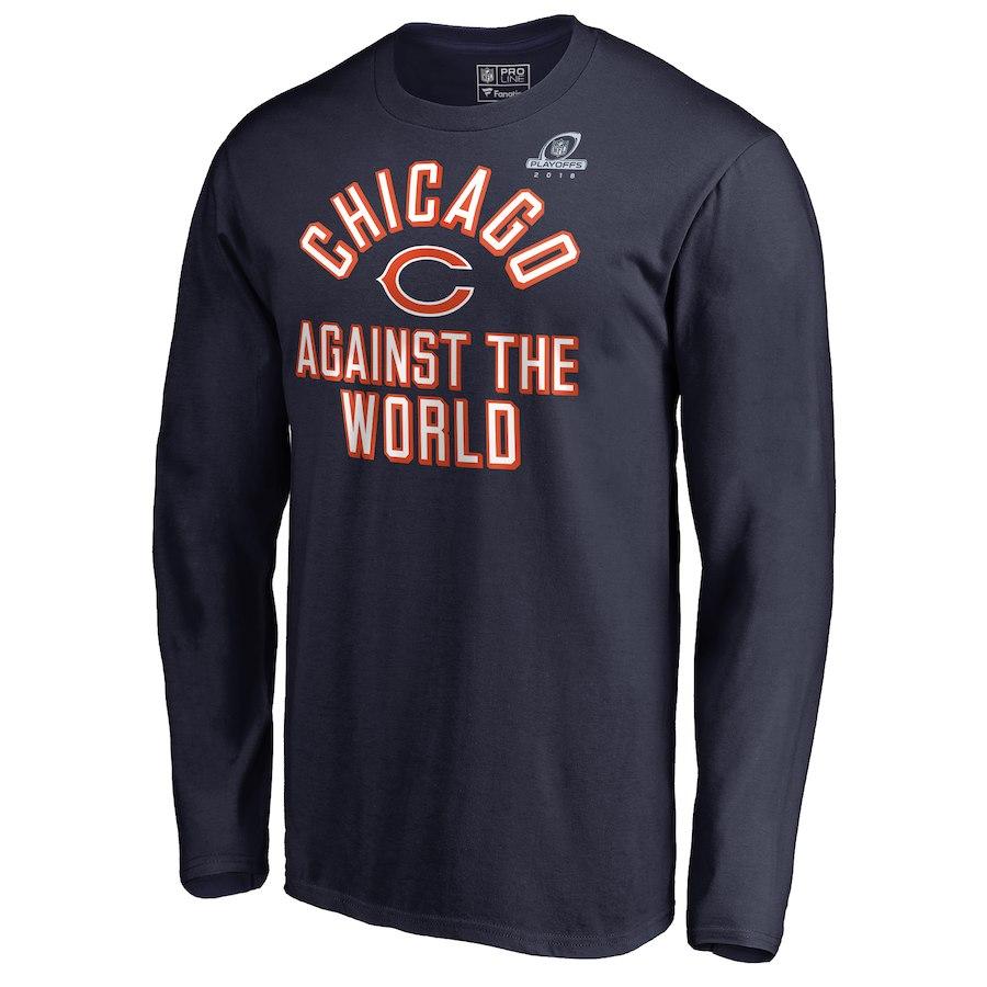 Bears Navy 2018 NFL Playoffs Against The World Men's Long Sleeve T-Shirt