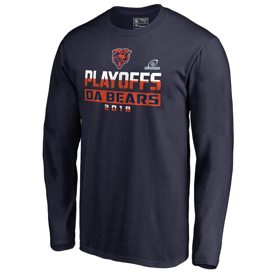 Bears Navy 2018 NFL Playoffs Da Bears Men's Long Sleeve T-Shirt
