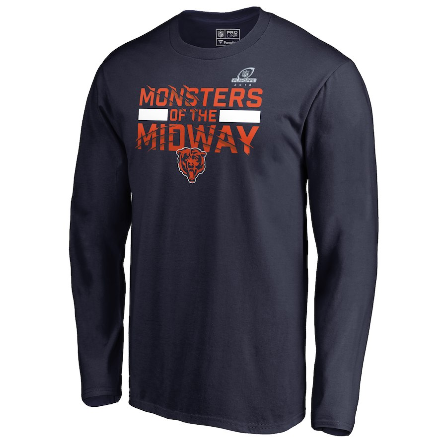 Bears Navy 2018 NFL Playoffs Monsters Of The Midway Men's Long Sleeve T-Shirt