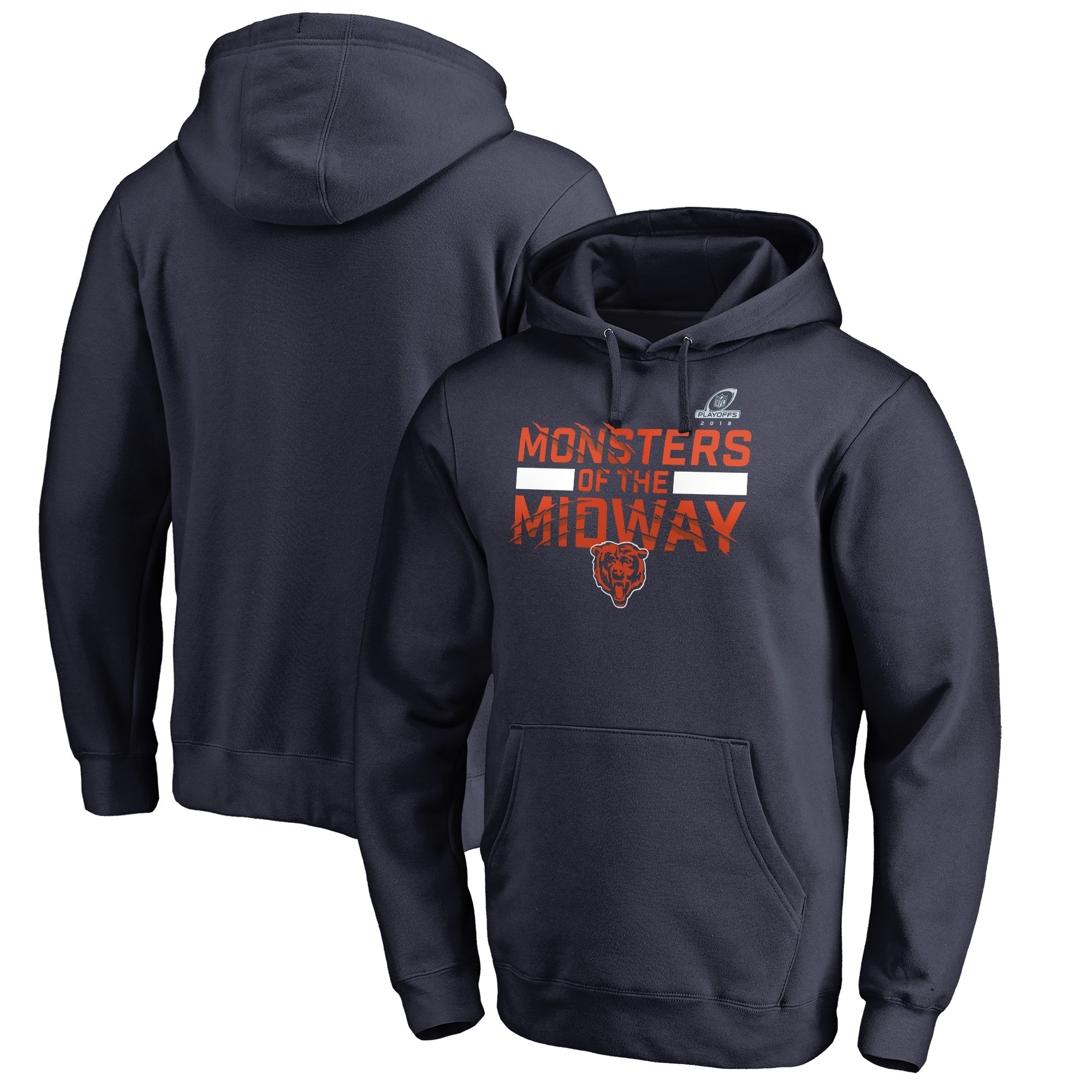 Bears Navy 2018 NFL Playoffs Monsters Of The Midway Men's Pullover Hoodie