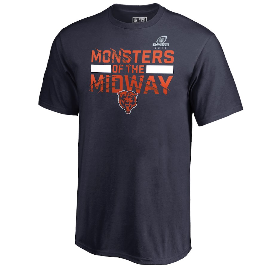 Bears Navy 2018 NFL Playoffs Monsters Of The Midway Men's T-Shirt