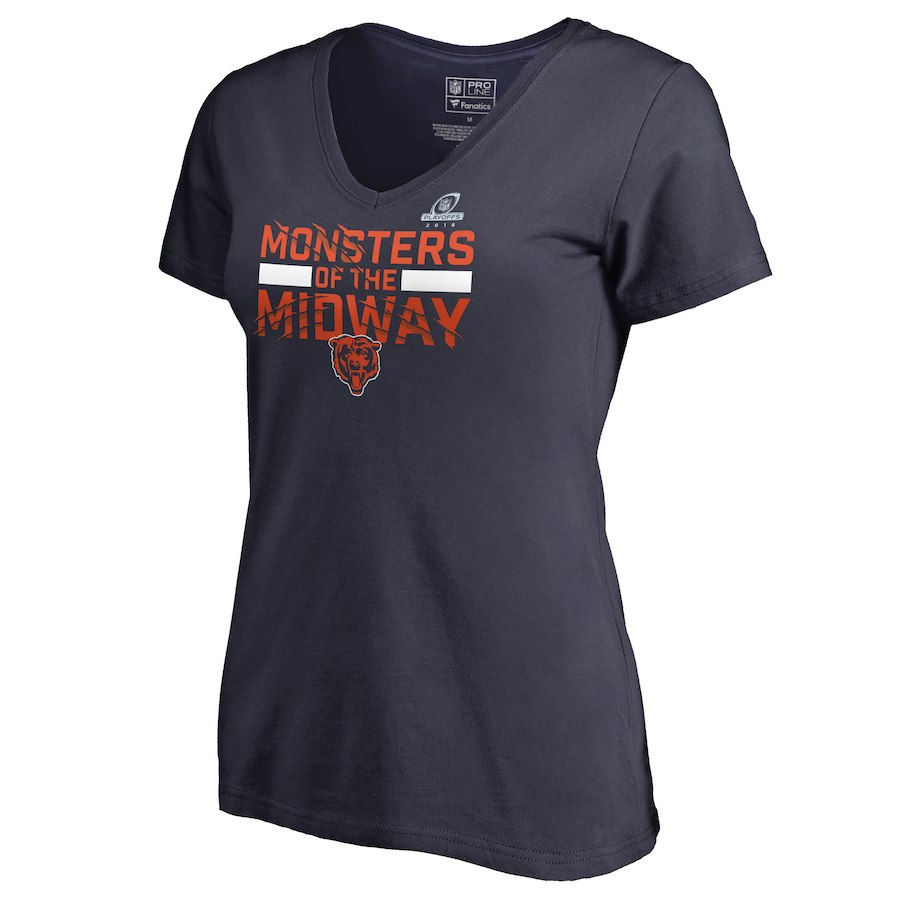 Bears Navy Women's 2018 NFL Playoffs Monsters Of The Midway T-Shirt