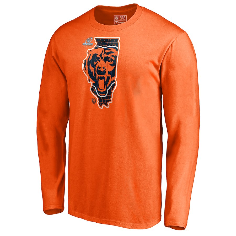 Bears Orange 2018 NFL Playoffs Men's Long Sleeve T-Shirt