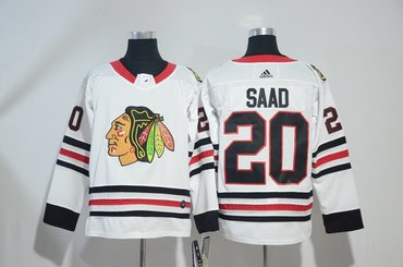 Blackhawks 20 Brandon Saad White Adidas Jersey