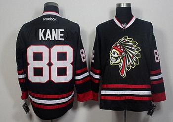 Blackhawks 88 Patrick Kane Black Skull Reebok Jersey