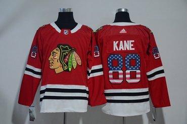 Blackhawks 88 Patrick Kane Red USA Flag Adidas Jersey