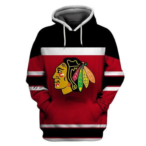 Blackhawks Red Black All Stitched Hooded Sweatshirt