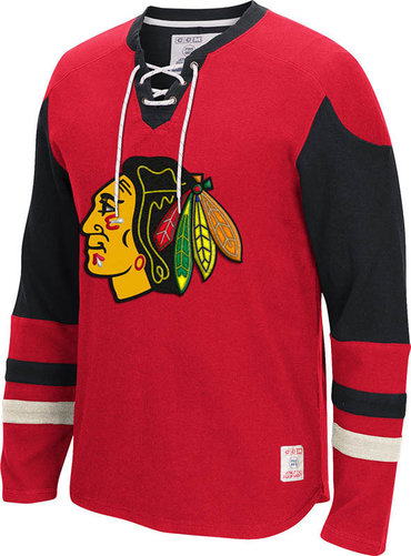 Blackhawks Red Throwback Men's Customized All Stitched Hooded Sweatshirt