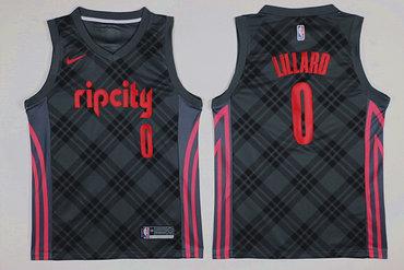 Blazers 0 Damian Lillard Gray City Edition Nike Swingman Jersey