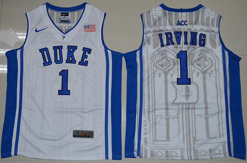 Blue Devils #1 Kyrie Irving White Basketball Elite V Neck Stitched NCAA Jersey