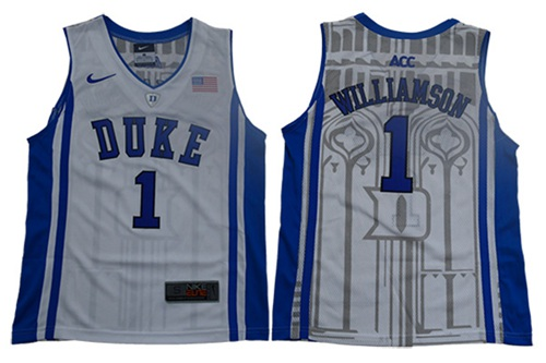 Blue Devils #1 Zion Williamson White Blue Basketball Elite Stitched Youth College Jersey