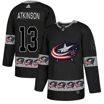 Blue Jackets 13 Cam Atkinson Black Team Logos Fashion Adidas Jersey
