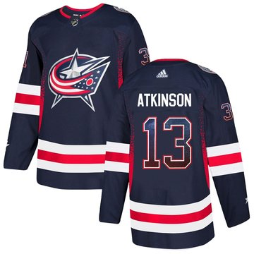Blue Jackets 13 Cam Atkinson Navy Drift Fashion Adidas Jersey