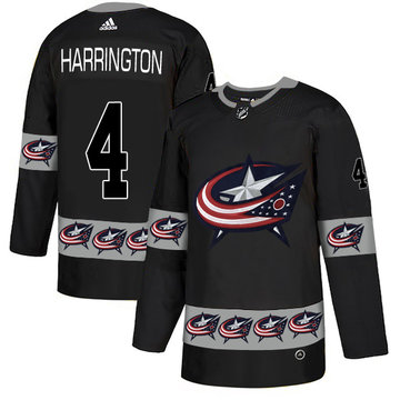 Blue Jackets 4 Scott Harrington Black Team Logos Fashion Adidas Jersey