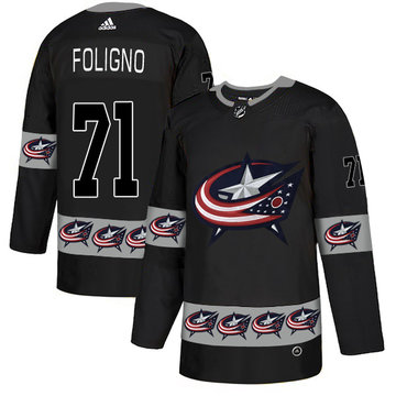 Blue Jackets 71 Nick Foligno Black Team Logos Fashion Adidas Jersey