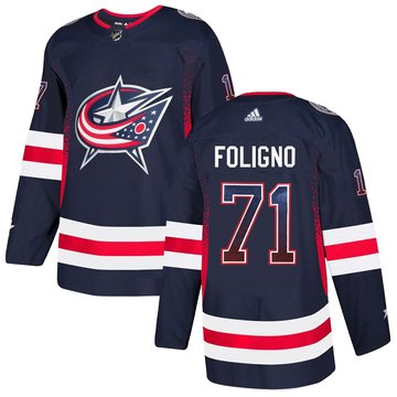 Blue Jackets 71 Nick Foligno Navy Drift Fashion Adidas Jersey