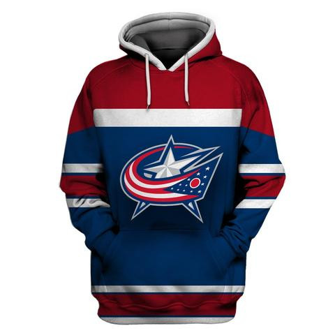 Blue Jackets Blue Wine All Stitched Hooded Sweatshirt