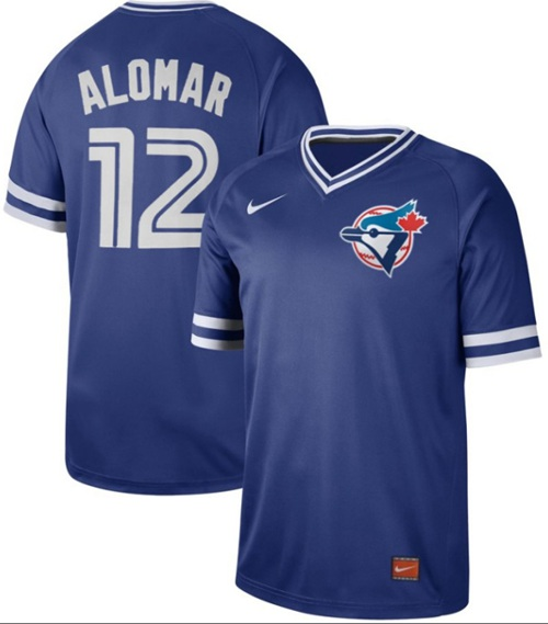 Blue Jays #12 Roberto Alomar Royal Authentic Cooperstown Collection Stitched Baseball Jersey