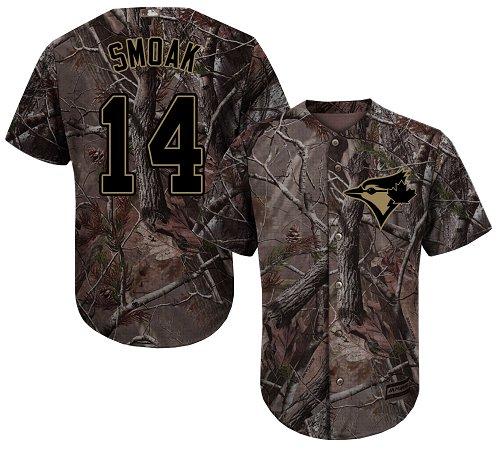 Blue Jays #14 Justin Smoak Camo Realtree Collection Cool Base Stitched Youth Baseball Jersey