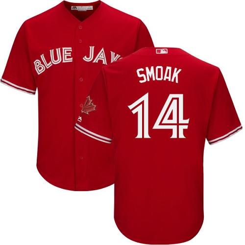 Blue Jays #14 Justin Smoak Red New Cool Base Canada Day Stitched Baseball Jersey